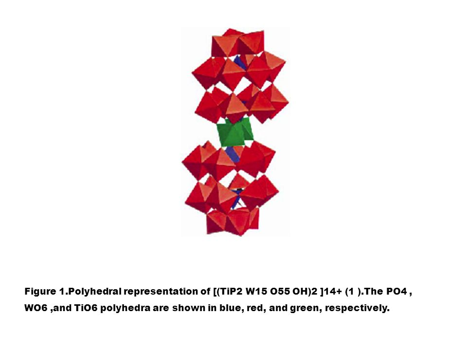 Figure 1. Polyhedral representation of [(TiP2 W15 O55 OH)2 ]14+ (1 )
